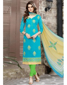 Festival Wear Blue Chanderi Salwar Suit - 15044