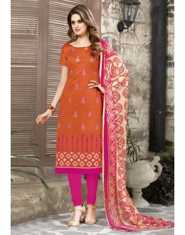 Un-Stitched Orange Chanderi Salwar Suit - 15046
