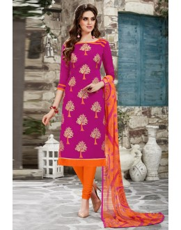 Chanderi Pink Embroidered Salwar Suit - 15051