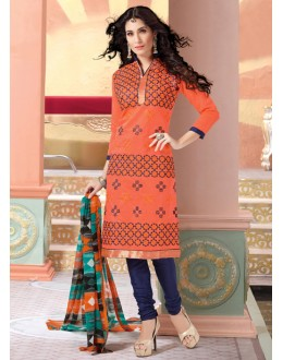 Un-Stitched Orange Chanderi Salwar Suit - 15069