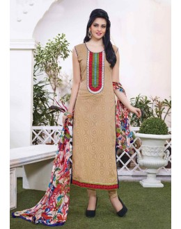 Office Wear Beige Cotton Salwar Suit - 15112
