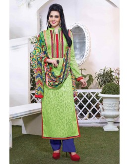 Ethnic Wear Green Cotton Salwar Suit - 15113