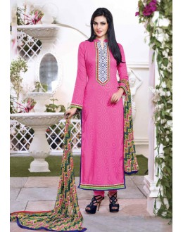Festival Wear Pink Cotton Salwar Suit - 15114