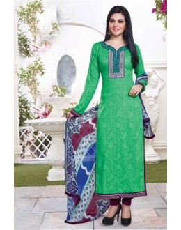 Festival Wear Green Cotton Salwar Suit - 15117