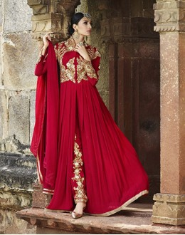 Party Wear Royal Georgette Slit Salwar Suit  - 15134