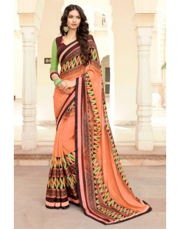 Casual Wear Multi-Colour Georgette Saree - 15304