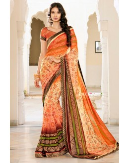 Casual Wear Orange Georgette Saree - 15305