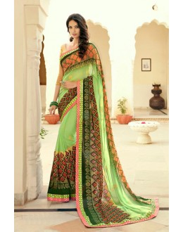 Georgette Multi-Colour Printed Saree - 15306