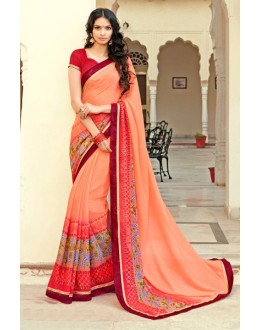 Festival Wear Peach Georgette Saree - 15309
