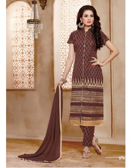 Casual Wear Brown Cotton Salwar Suit - 15354