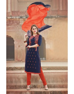 Festival Wear Blue Glace Cotton Salwar Suit  - 15370