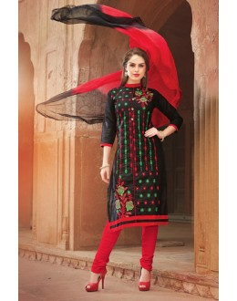Office Wear Black Glace Cotton Salwar Suit  - 15374