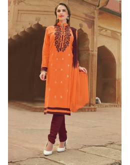 Festival Wear Orange Glace Cotton Salwar Suit  - 15382