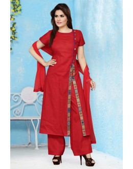Office Wear Readymade Red Palazzo Suit - 15656