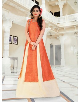 Party Wear Readymade Orange Indo Western Suit - 15767