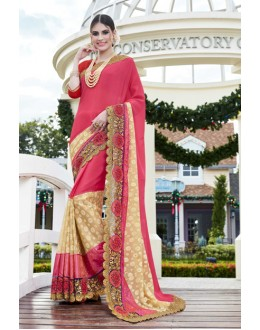 Designer Red Georgette Embroidered Saree - 15771