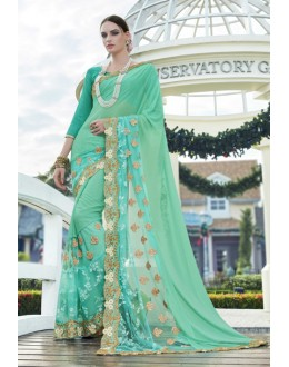 Party Wear Light Green Georgette Saree - 15772