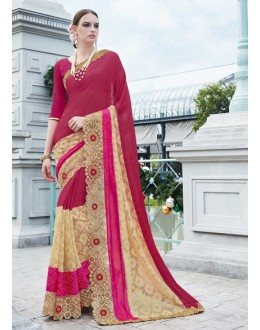 Wedding Wear Maroon Georgette Saree - 15773