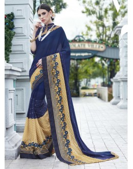 Party Wear Navy Blue Georgette Saree - 15774
