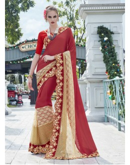 Festival Wear Maroon Georgette Saree - 15777