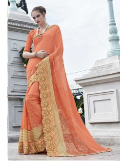 Party Wear Light Orange Georgette Saree - 15778