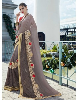 Festival Wear Grey Georgette Saree - 15780