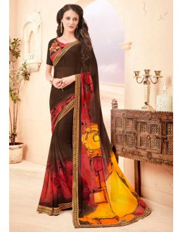 Multi-Colour Pure Georgette Saree  - 15786