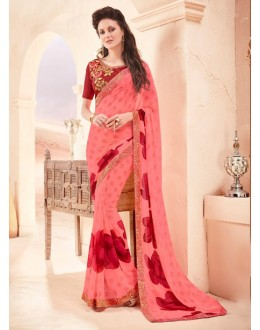 Party Wear Peach Pure Georgette Saree  - 15787