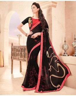 Casual Wear Black Pure Georgette Saree  - 15788