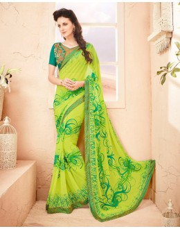 Pure Georgette Parrot Green Printed Saree  - 15789