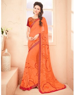 Casual Wear Orange Pure Georgette Saree  - 15791