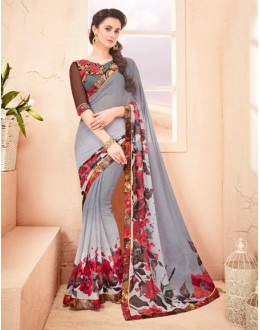 Festival Wear Grey Pure Georgette Saree  - 15792