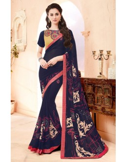 Pure Georgette Blue Printed Saree  - 15793