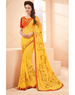 Ethnic Wear Yellow Pure Georgette Saree  - 15795