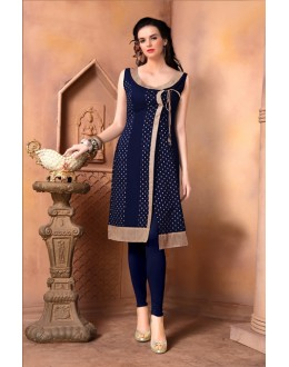 Office Wear Readymade Navy Blue Kurti - 15847