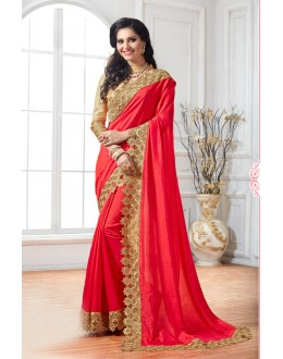 Party Wear Red Crepe Silk Saree  - 15888