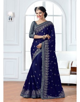 Festival Wear Dark Blue Chiffon Saree  - 15889
