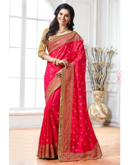 Wedding Wear Dark Pink Crepe Silk Saree  - 15890