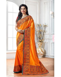 Party Wear Yellow Crepe Silk Saree  - 15892