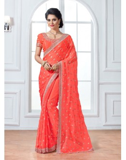 Festival Wear Peach Crepe Saree  - 15893