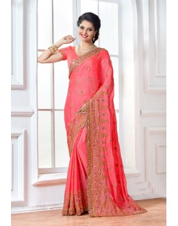 Wedding Wear Pink Crepe Saree  - 15895