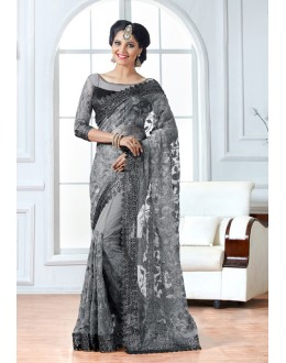 Net Grey Designer Embroidery Saree  - 15896