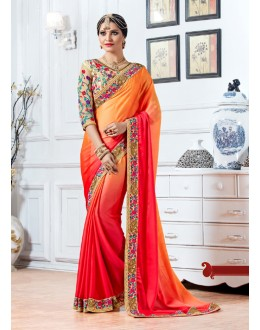 Festival Wear Orange & Pink Crepe Saree  - 15897