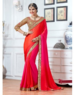 Party Wear Pink & Orange Crepe Saree  - 15898