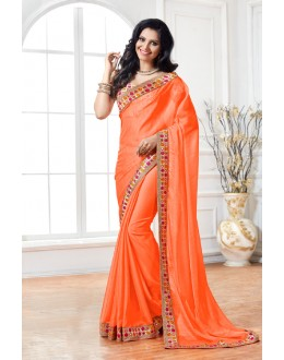 Party Wear Orange Crepe Saree  - 15899