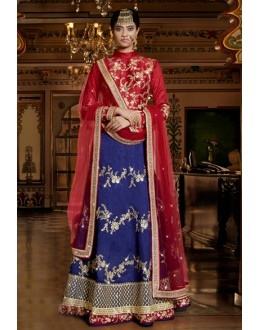 Dhupion Blue Embroidery Lehenga Choli - 15952
