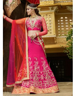 Festival Wear Pink Raw Silk Lehenga Choli - 15953