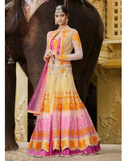 Wedding Wear Pink Net Lehenga Choli - 15954