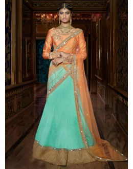 Traditional Green & Orange Lehenga Choli - 15956