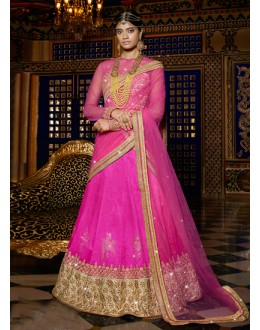 Festival Wear Pink Embroidery Lehenga Choli - 15958